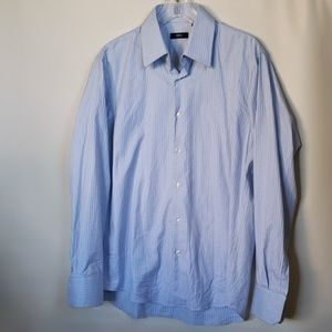 BOSS  blue striped dress mens shirt 16